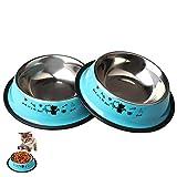 Zhiye Lot de 2 gamelles en acier inoxydable pour animal domestique, antidérapantes avec joli motif chats peint, pour chats et chiens de petite taille