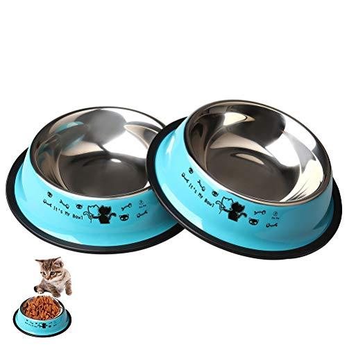 Zhiye Cuencos para mascotas de acero inoxidable para gatos, 2 piezas, antideslizantes, con bonito patrón de gatos pintado, perros pequeños, gatos...