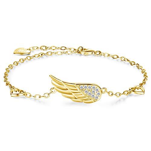 Billie Bijoux 925 Bracciale donna in argento sterling con ala d'angelo regolabile Bracciale con diamanti placcato oro bianco alla caviglia Regalo donna (C-gold)