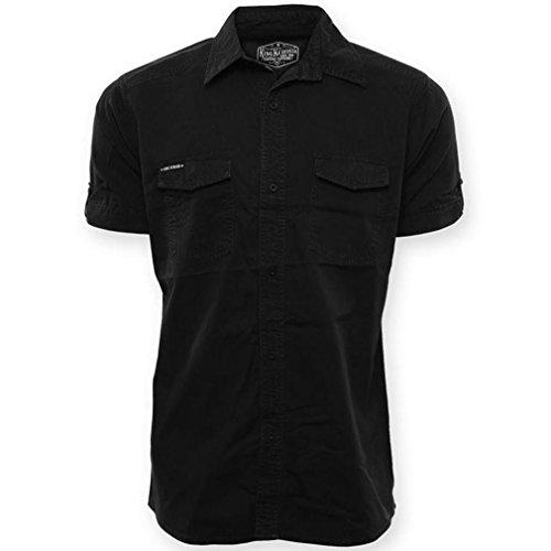 King Kerosin Herren Rockabilly Kurzarm Worker Hemd bis 3XL Hot Rod - Road Devil Shirt mit Backprint (S)