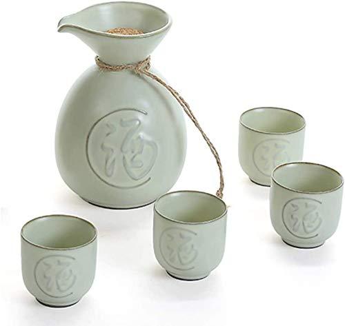 WQF Juego de 5 Piezas de Sake, Copas de Vino de cerámica esmaltada Negra con tapón de Corcho, Tazas artesanales Tradicionales, para Sake frío/Tibio/Caliente/Shochu/té