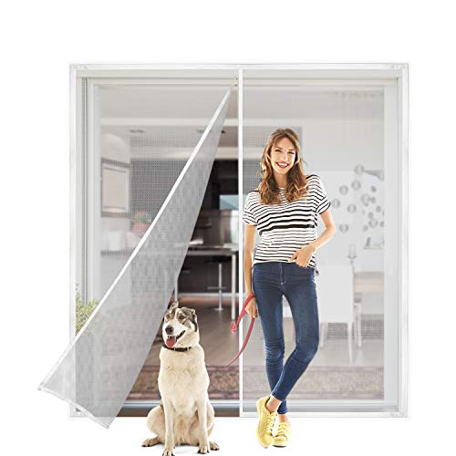 Titan Mall 72x80' Upgraded Magnetic Screen Door with Durable Fiberglass Mesh Curtain Fits Door Full Frame Seal Loop Fits Door- White