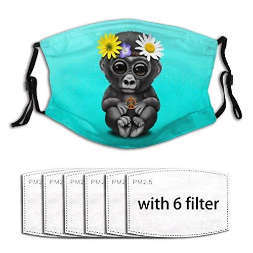 Mundschutz Aktivkohle 6 Filter, niedlicher Baby Gorilla Hippie Friedensliebende Tiere Muster Halbgesichtsschutz Mas-Ke