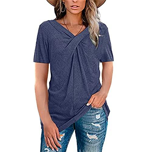 Mayntop - Maglietta da donna, tinta unita, a maniche lunghe, con scollo a V, nodo a pieghe, A-Navy, 40