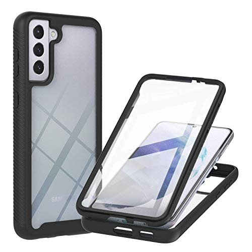 JZ Galaxy S21 Plus 5G 360 Degrees Front & Back Transparent Phone Custodia For Per Samsung S21+ Plus 5G Full Screen Coverage Custodia - Black