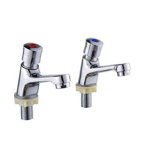 Iraza Grifo de lavabo temporizado, 2pc Grifos de Sensor de Cierre Automático Sin Contacto Ahorro de Agua para el Baño Cocina Pública