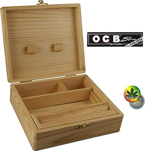 Wooden Box RS Holzbox 170 x 59 x 150 4 Fächer Geheimfach + OCB Papers inkl Tips - Rasta-Button