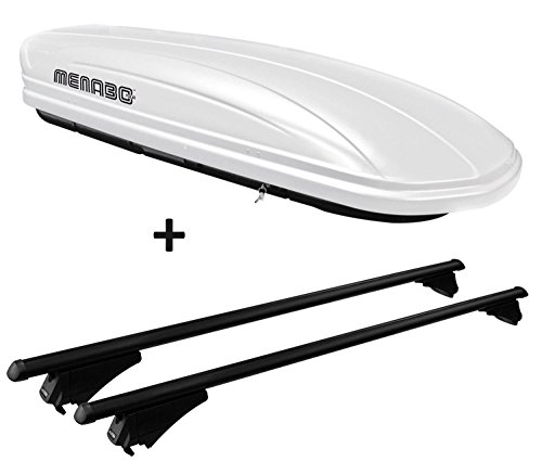 VDP Skibox weiß MAA 460W 460 Liter abschließbar + Alu-Relingträger Dachgepäckträger für aufliegende Reling im Set für Honda Civic IX Tourer ab 2013