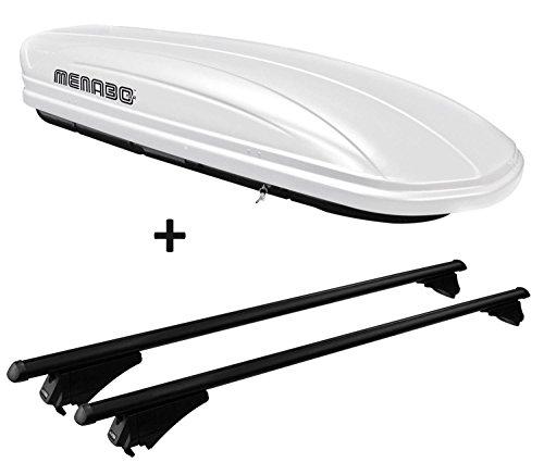 VDP Skibox weiß MAA 460W 460 Liter abschließbar + Alu-Relingträger Dachgepäckträger aufliegende Reling im Set kompatibel mit Opel Zafira Tourer ab 2011