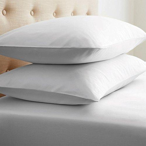 Grace Home Juego de fundas de almohada de satén de 800 hilos, 100% algodón, color blanco