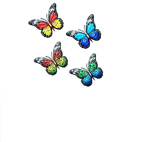 4 Mariposas Metálicas Tridimensionales Montadas En Pared - Decoración De Hierro Forjado De Jardín, Decoración De La Decoración De La Pared De La Mariposa Realista, Decoración del Color 3D 210621