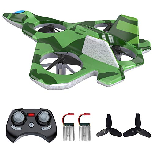 Mayceyee F22 RC Drones for Kids and Beginner, Easy to Fly and Hover, RC Helicopter Quadcopter Fighter Jet with 360° Flip, LED Light Indication, 2 Batteries. Gift Toys for Kids (Green)