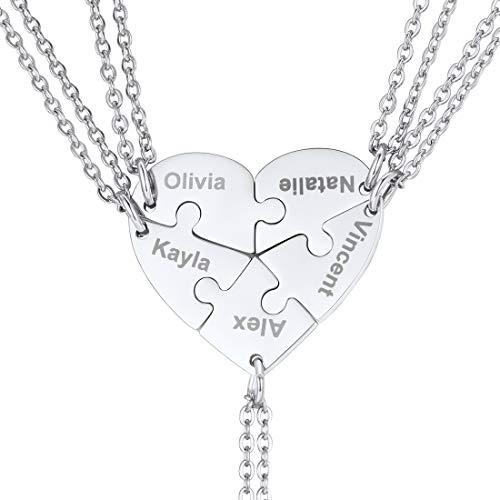 U7 personalisiert Herz Puzzle Kette Edelstahl 5 Stücke Puzzle-Teile Namen Gravur Anhänger Halskette Damen Mädchen Modeschmuck Weihnachten Geschenk für Freundschaft Familien
