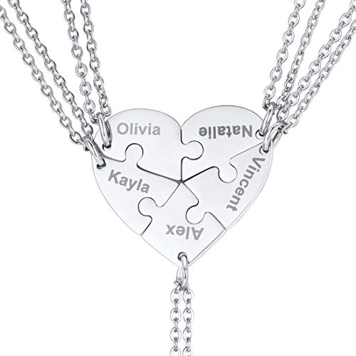 U7 BFF Necklace for 2/3/4/5/6 Stainless Steel Chain Personalized Family Love/Friendship Jewelry Set Customized Engraving Heart Pendants (Set of 5 Stainless Customized)