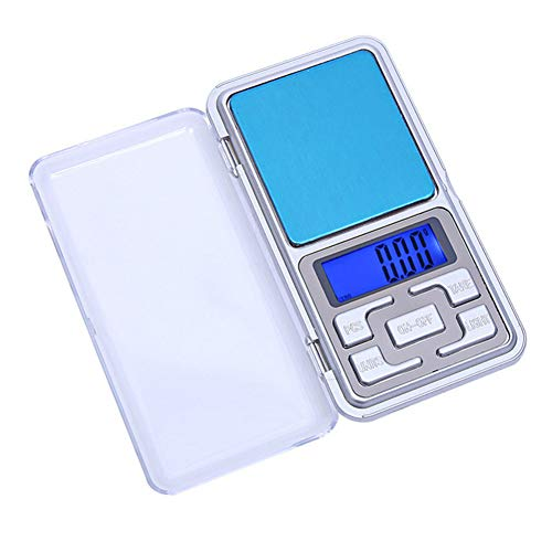 KOqwez33 500-100g/0.01g Jewelry Scale, Digital Pocket Scale, LCD Display Electronic Kitchen Weigh Scale Mini Balance Weigher with Tare Weight Scale Silver 0.01~200g