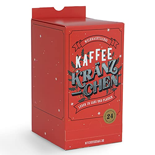 Adventskalender 2021 mit 24 kleinen Einzelfiltern (Coffeebags) in Geschenkbox zum Aufbrühen direkt in der Tasse - bestückt mit hochwertigem Filterkaffee