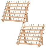 Kurtzy Porta Hilos de Madera 60 Carretes de Hilo (Pack de 2) - Organizador Costura de Mesa con Ganchos para Colgarlo - Organizador de Hilos de Madera de Haya Soporte Hilos Bordar, Costura, Colchas