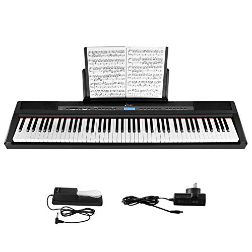 Donner DEP-20 Beginner Digital 88 Key Full Size Weighted Keyboard, Portable Electric Piano with Sustain Pedal, Power Supply