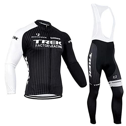Conjunto Bicicleta Hombre Invierno, Ropa Ciclismo Térmico de Manga Larga Incluye Maillot Ciclismo Polar Térmico y Pantalones Ciclismo Elásticos