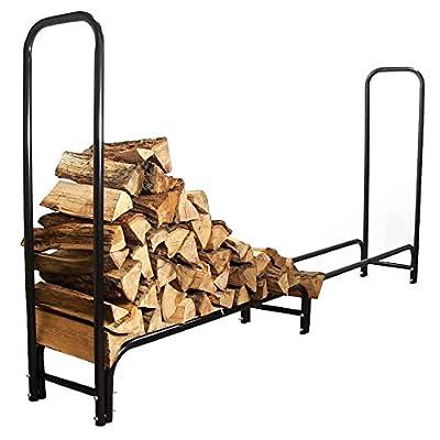 Sunnydaze 8-Foot Firewood Log Rack - Outdoor Black Powder-Coated Steel Fireplace Wood Stacker Holder - Indoor and Outdoor Metal Firelogs Storage Accessory