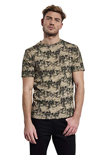 Kaporal - T-Shirt imprimé Allover tête de Mort en 100% Coton, Coupe Droite - Teror - Homme - S - Gris