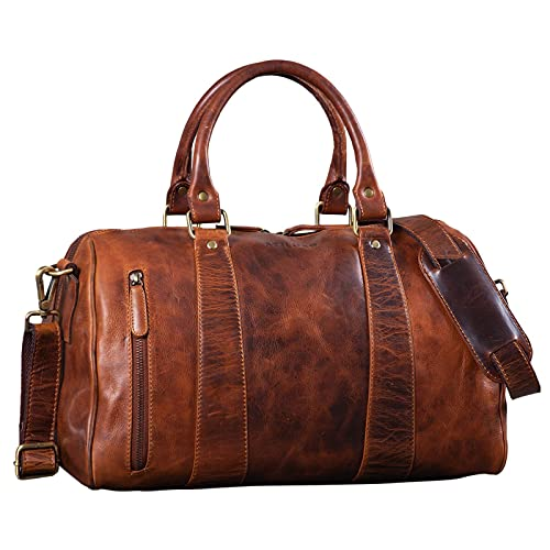 STILORD 'Keanu' Leder Weekender Herren kleine Vintage Reisetasche zum Umhängen Handgepäck Reisegepäck in Kabinengröße echtes Rindsleder, Farbe:Kara - Cognac