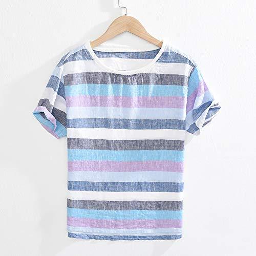 LIANGXIEW Camiseta para Hombre,Hombres Verano Japón Estilo Cuello Redondo Color Caramelo Despojado Manga Corta Ropa Delgada Ajuste Casual Abrigo Cómodo Suelto Camiseta Hombre Delgada Top, Azul, L