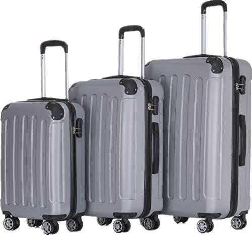 BEIBYE Zwillingsrollen Hardcase Reisekoffer Koffer Trolleys Hartschale in XL-L-M in 14 Farben (Silber, Kofferset)
