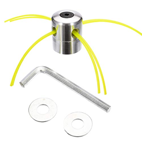 Marvedi Aluminum Grass Trimmer Head, Trimmer Head Spool Set with 4 Lines, Mower Rope, Mounting Washer and Wrench, for Gasoline Grass Brush Cutter