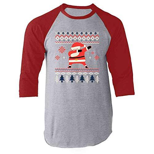 Santa Claus Dabbing Christmas Funny Red L Raglan Baseball Tee Shirt