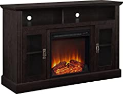 "The Ameriwood Home Chicago Electric Fireplace TV Console gives you the perfect combination of storage with an added fireplace bonus The TV Stand supports up to a 50"" flat panel TV with a maximum weight of 70 lbs. and is constructed of laminated parti..."
