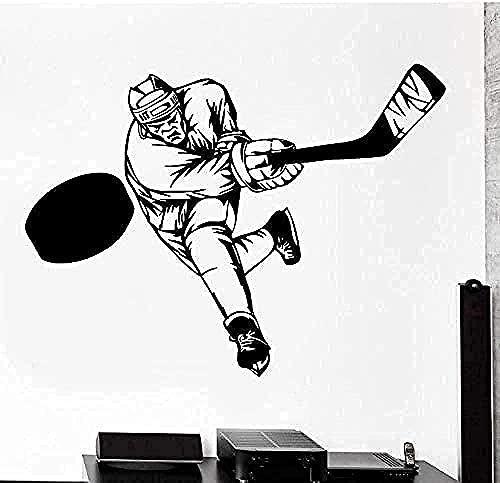Adhesivo de pared tatuaje de pared pegatina de pared desmontable deportes Hockey invierno atleta calcomanía Mural niño dormitorio pegatina 56X42Cm