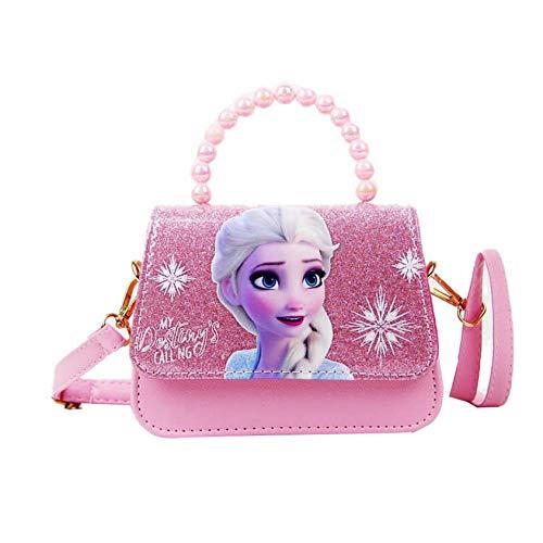 K-ONESEEYOU Elsa Mädchen Taschen Die Eiskönigin 2 Anna und Elsa Frozen Spielzeug Kinder Schultertasche Pailletten Geldbörse (Pink)