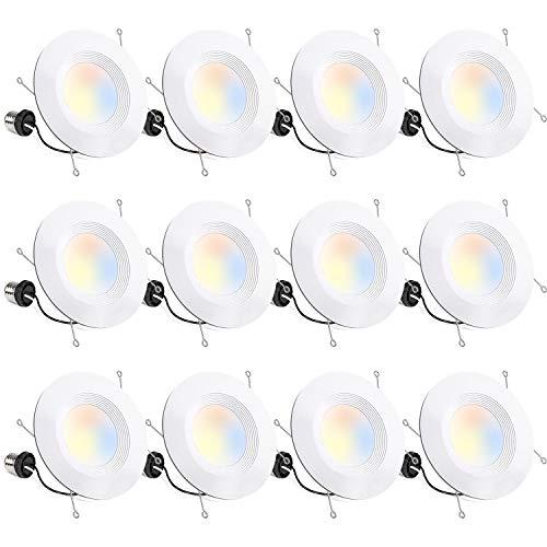 Hykolity 12 Pack 5/6 Inch Selectable CCT LED Recessed Lighting, Baffle Trim, CRI90, 1100lm, 15W=100W, 2700K/3000K/3500K/4000K/5000K Adjustable, Dimmable Recessed Lighting, Damp Rated LED Can Lights