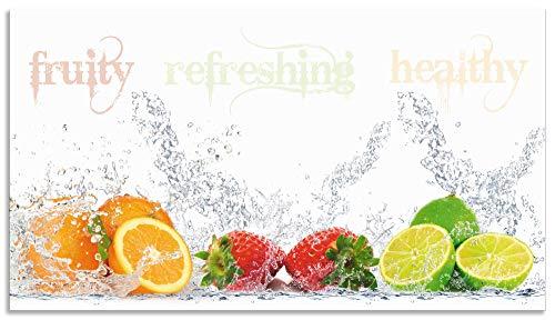 Artland Spritzschutz Küche aus Alu für Herd Spüle 90x50 cm Küchenrückwand mit Motiv Obst Früchte Orange Limette im Wasser Spruch Modern Hell S6JP