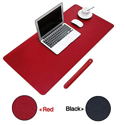 KEESIN wasserdichte Computer Pad Gaming Schreibtisch Matte Erweiterte rutschfeste Pu-Leder Laptop Mauspad Matte für Büro und Haus (Schwarz-Rot)