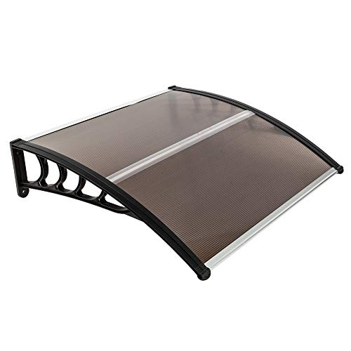 "Simply-Me 40"" x 40"" Door Window Awning Polycarbonate Cover Front Door Outdoor Patio Awning Canopy UV Rain Snow Protection Hollow Sheet (Brown & Black Bracket)"