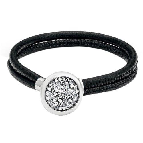 s.Oliver Damen Armband Edelstahl Leder Swarovski-Kristall 19.0 cm weiß 463560