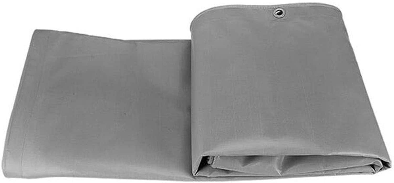 DALL 防水シートヘビーデューティコールドプロテクション防雨布屋外両面防水厚手引き裂き抵抗 (Color : Gray, Size : 6×8m)