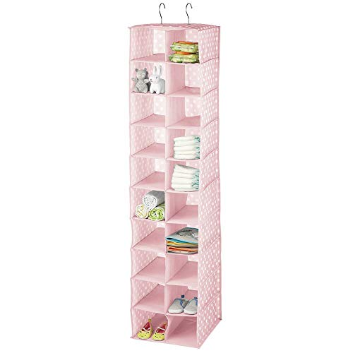 mDesign Portatutto pensile con 20 Scomparti – Organizzatore Armadio in Tessuto a Pois – Perfetto Come ripiano pensile negli armadi per Bambini – Rosa/Bianco