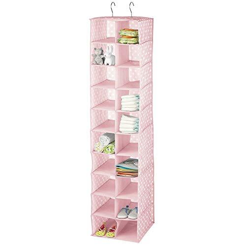mDesign Organizador de armarios con 20 apartados – Armario de Tela Ideal con Estampado de Lunares – Estantería Colgante Dormitorio de los niños – Rosa y Blanco