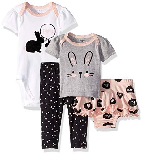 Gerber Set de 4 piezas con faldas, camisas y pantalón activo para bebé, Conjunto de 4 piezas de camisa, mono, bragas con falda y pantalón, Onesie de margaritas amarillas