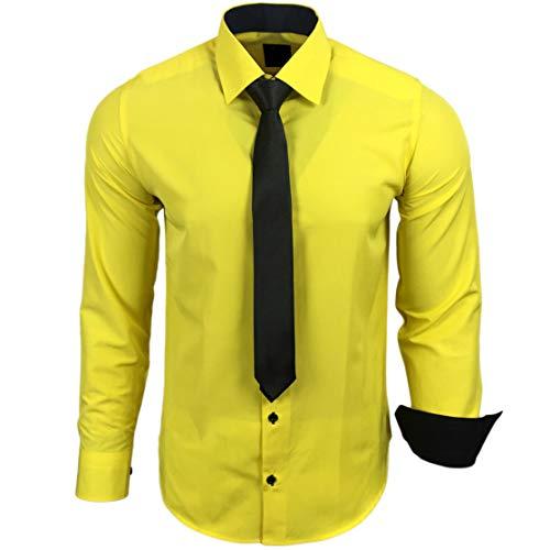 Baxboy 444-BK Herren Kontrast Hemd Business Hemden mit Krawatte Hochzeit Freizeit Fit, Größe:XL, Farbe:Gelb