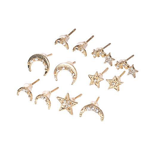 Set di 6 paia di orecchini a perno in stile bohémien, placcati in oro, a forma di stella, luna, ipoallergenici