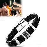Magnetic Masculinity Leather Bracelet, Black Brown Genuine Woven Leather Bracelet, Vintage Leather Magnet Clasp Bracelet for Men, Stainless Steel Magnetic Clasp (1Black)