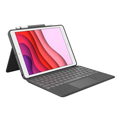 Logitech Combo Touch Tastatur Case für iPad 7a Generation mit Trackpad, Wireless Tastatur und Smart Connector, Graphit
