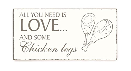 SCHILD Dekoschild « All you need is LOVE and some CHICKEN LEGS » Vintage houten schild deurschild restaurant snacks Home accesoirs