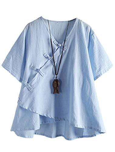 FTCayanz Damen Leinen Tunika Tops V-Ausschnitt Knopfleiste Bluse Kurzarm T-Shirt Blau M