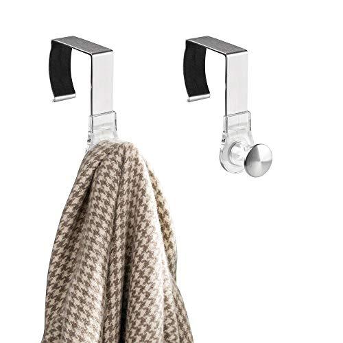mDesign 2er-Set Kleiderhaken zum Einhängen – ideale Haken ohne Bohren für fixe und Mobile Raumteiler im Büro – Hängegarderobe für Jacken, Mäntel und Co oder als Taschenhalter – Silber