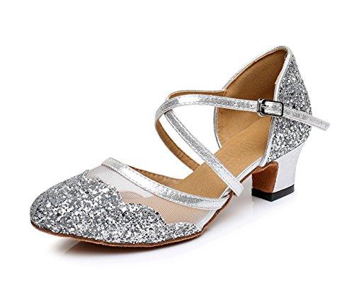 Honeystore Neuheiten Frauen's Pailletten Heels Absatzschuhe Moderne Latein-Schuhe mit Knöchelriemen Tanzschuhe LD0174 Silber 42 CN